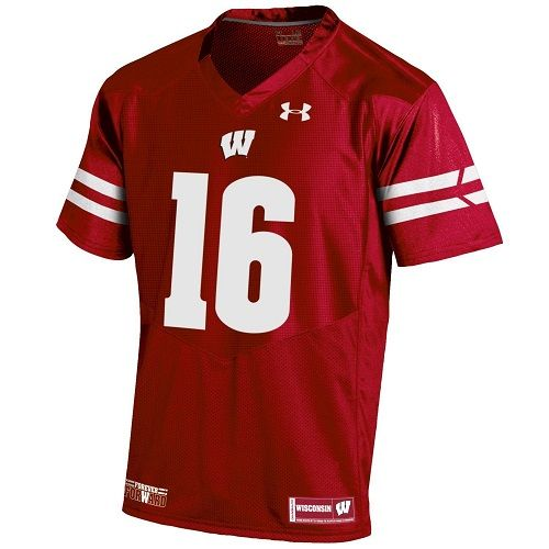 Wisconsin Badgers Under Armour Red Russell Wilson Replica NFLPA Jersey