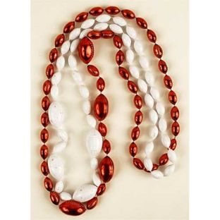 Wisconsin Badgers Red and White Football Beads
