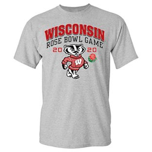 Wisconsin Badgers Gray 2020 Rose Bowl Big Bucky T-Shirt
