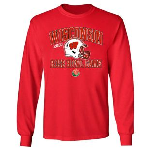 Wisconsin Badgers Red 2020 Rose Bowl Arch Helmet Long Sleeve T-Shirt