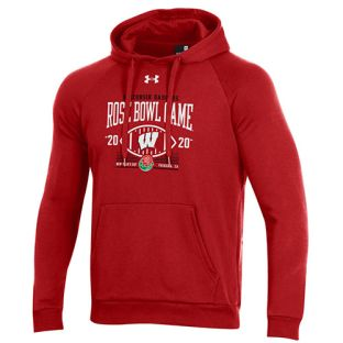 Wisconsin Badgers Under Armour Red 2020 Rose Bowl Yardage Hooded Sweatshirt
