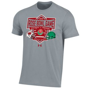 Wisconsin Badgers Under Armour Steel 2020 Rose Bowl Dueling Helmets T-Shirt