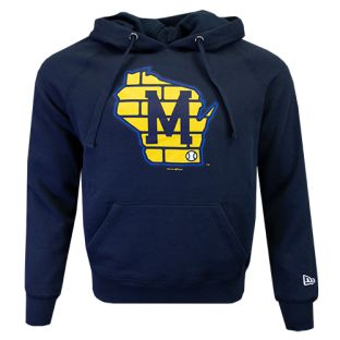 Milwaukee Brewers New Era Navy Brushed Fleece State Logo Hooded Sweatshirt