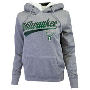 Milwaukee Bucks New Era Gray Women's Sherpa Lined Hooded Sweatshirt