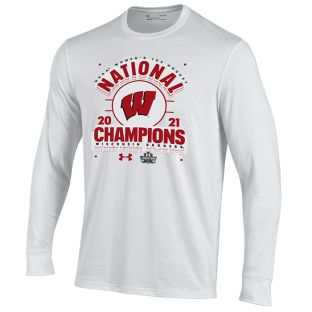 Wisconsin Badgers Under Armour White 2021 Women's Hockey NCAA National Champions Issue Long Sleeve T-Shirt