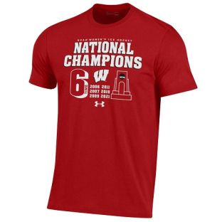 Wisconsin Badgers Under Armour Red 2021 Women's Hockey 6X National Championship Trophy T-Shirt