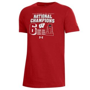 Wisconsin Badgers Under Armour Red Youth 2021 Women's Hockey 6X National Champions T-Shirt