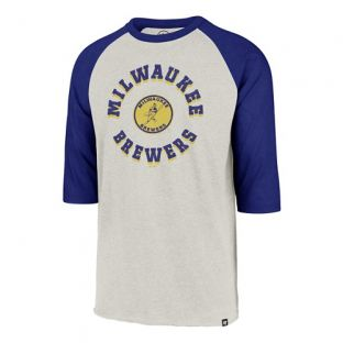 Milwaukee Brewers '47 Brand Sand & Royal Barrelman Raglan 3/4 Sleeve T-Shirt