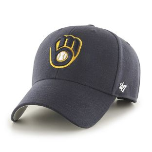Milwaukee Brewers '47 Brand Navy Ball & Glove MVP Adjustable Cap