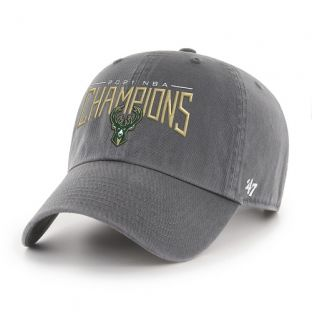 Milwaukee Bucks '47 Brand Charcoal 2021 NBA Champions Type Out Cleanup Adjustable Cap