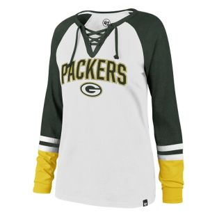 Green Bay Packers '47 Brand White & Green Women's Fast Break Long Sleeve