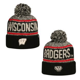 Wisconsin Badgers Top Of The World Black Acid Rain Cuffed Pom Knit
