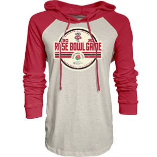 Wisconsin Badgers Women's Oatmeal & Red 2020 Rose Bowl Brickyard Lightweight Hood