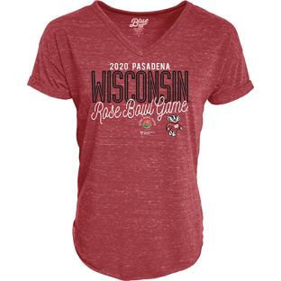 Wisconsin Badgers Women's Red 2020 Rose Bowl Amaze Me V-Neck T-Shirt