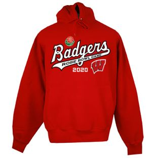 Wisconsin Badgers Red 2020 Rose Bowl Script Tackle Twill Hooded Sweatshirt