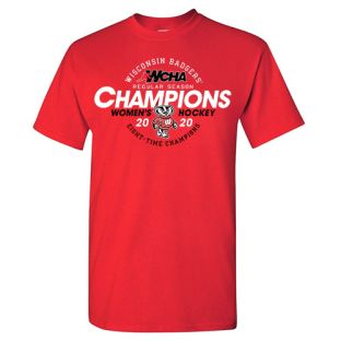 Wisconsin Badgers Women's Hockey Red 2020 WCHA Champions T-Shirt