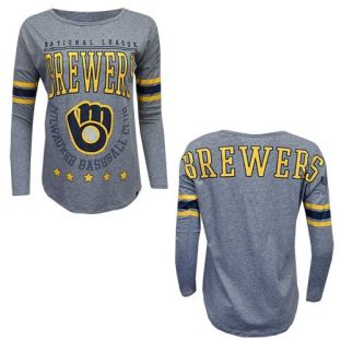 Milwaukee Brewers Women's Grey Heather Court Long Sleeve Shirt