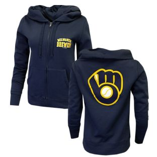 Milwaukee Brewers Women's New Era Navy Blue Two Sided Ball and Glove Zip Hooded Sweatshirt