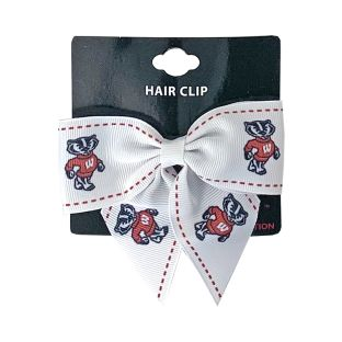 Wisconsin Badgers White Bow Hair Clip