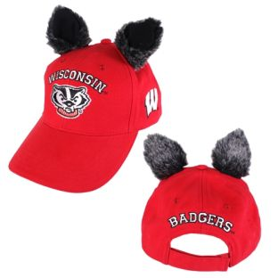 Wisconsin Badgers Red Adult Bucky Ear Adjustable Cap