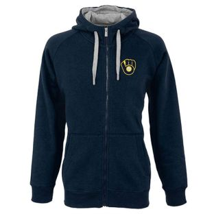 Milwaukee Brewers Antigua Navy Blue Victory Full Zip Hooded Sweatshirt