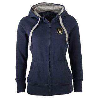 Milwaukee Brewers Women's Antigua Navy Blue Victory Full Zip Hooded Sweatshirt