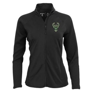 Milwaukee Bucks Antigua Black Women's Sonar Full Zip Jacket