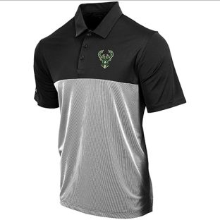 Milwaukee Bucks Antigua Black & White Venture Polo