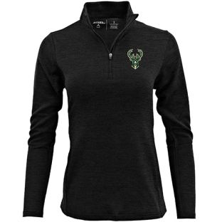 Milwaukee Bucks Antigua Black Women's Bonsai 1/4 Zip