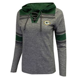 Green Bay Packers Antigua Gray Women's Wrestle Terry Lace Up Hooded Long Sleeve