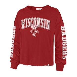 Wisconsin Badgers '47 Brand Red Women's Retro Parkway Long Sleeve T-Shirt