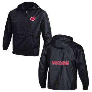 Wisconsin Badgers Champion Black Solid 2 Location Packable Pullover 1/2 Zip Jacket