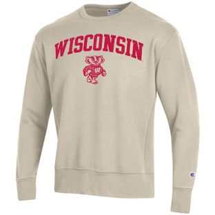 Wisconsin Badgers Champion Oatmeal Heather Arch Shadow Bucky Rochester Crewneck Sweatshirt