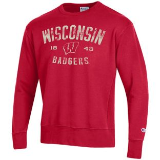 Wisconsin Badgers Champion Red Arc W Badgers Rochester Crewneck Sweatshirt