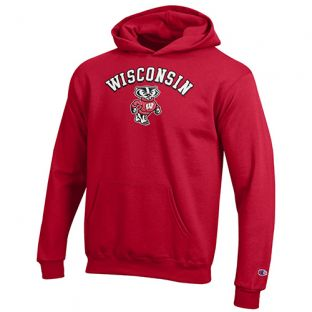 Wisconsin Badgers Champion Red Youth Arc Bucky Hooded Sweatshirt