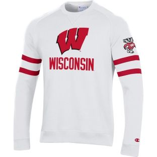 Wisconsin Badgers Champion White Superfan Crewneck Sweatshirt