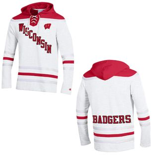 Wisconsin Badgers Champion Superfan Tackle Twill Hockey Hooded Sweatshirt