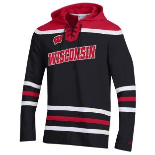 Wisconsin Badgers Hockey Champion 2020 Superfan Tackle Twill Hooded Sweatshirt