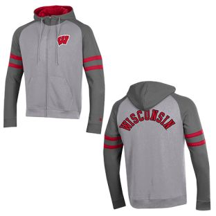 Wisconsin Badgers Champion Gray Superfan Full Zip Hooded Sweatshirt