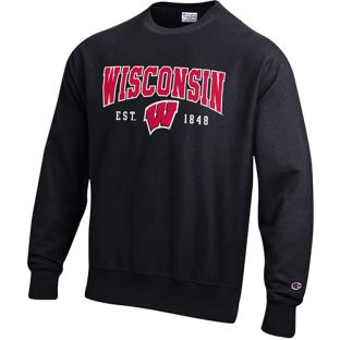Wisconsin Badgers Champion Reverse Weave Established Arch W Crewneck Sweatshirt