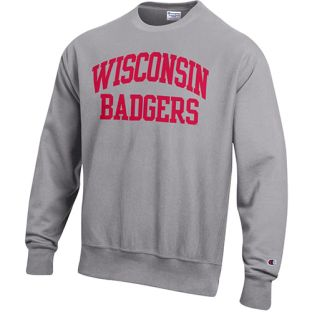 Wisconsin Badgers Champion Oxford Heather Reverse Weave Arc Over Badgers Crewneck Sweatshirt