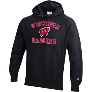 Wisconsin Badgers Champion Reverse Weave Arch W Badgers Hooded Sweatshirt