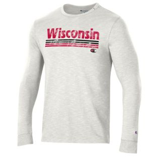 Wisconsin Badgers Champion White Multi Stripe Rochester Long Sleeve T-Shirt