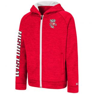 Wisconsin Badgers Colosseum Red Youth Statler Zip Hooded Sweatshirt