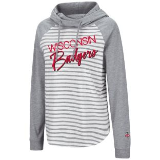 Wisconsin Badgers Colosseum White Heather Women's Yacht Trip Hooded Long Sleeve T-Shirt