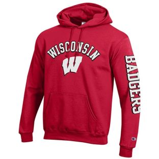 Wisconsin Badgers Champion Arch W Sleeve Hooded Sweatshirt