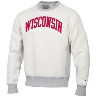 Wisconsin Badgers Champion Gray Reverse Out Reverse Weave Crew Neck Sweatshirt