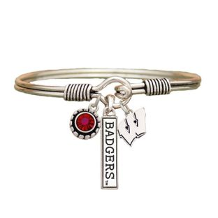 Wisconsin Badgers Metal Bracelet With Charms
