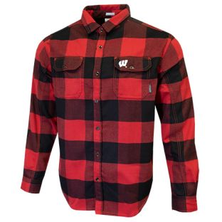 Wisconsin Badgers Columbia Red & Black Deschutes Flannel Shirt