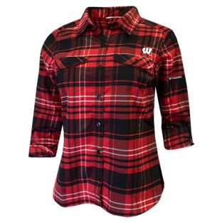 Wisconsin Badgers Columbia Women's Red & Black Silver Ridge Flannel